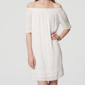 Loft off shoulder white dress